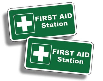 First Aid Station Sticker Vinyl Attention Safe Safety Decal Fire Rescue Home GREEN Rescue 1st Label Kit Area