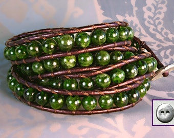 LeatherWrap Bracelet, Chrome Diopside, 6mm Round Semiprecious, Wraps4x, Handmade, Metallic Plum Leather, Pewter Button, Emerald Green color