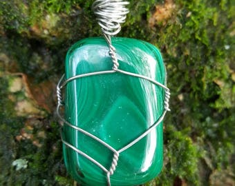 Malachite Wire - Wrapped Pendant