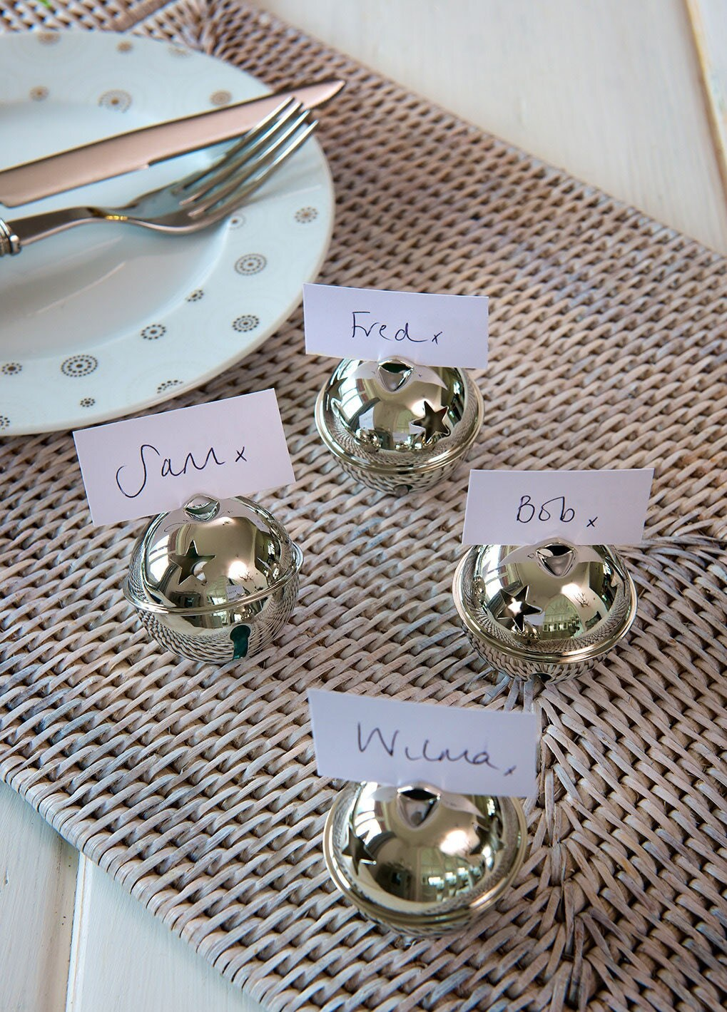 Silver Place Card Jingle Bells Holders For A Cute Christmas Wedding Jingly