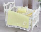 Baby Doll Blanket, Yellow Afghan, Crib Bedding Set, Dollhouse Artisan Miniatures, Dolls Crib Nursery Accessory, Cradle Blanket, Inch Scale