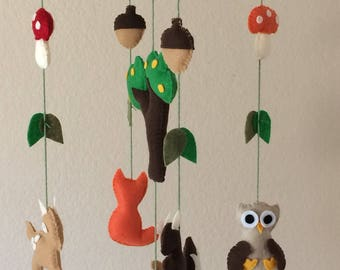 Woodland mobile,baby mobile woodland, woodland creatures mobile,forest animals mobile,fox mobile,deer mobile,owl mobile crib mobile,mobil