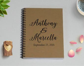 Personalized Journal Notebook, [Custom Names & Wedding Date] Notebook- 5 x 7 Journal, Engagement, Wedding Notebook, Couples Diary, WN2