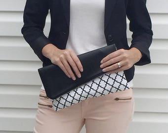 Black Vegan Leather / Vegan Leather Clutch / Foldover Clutch / Fold Over Clutch / Wristlet / Clutch / Clutch Purse / Vegan Leather Strap
