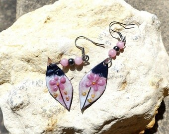 Flowers earrings wild night, gold, pink and gray art glazes