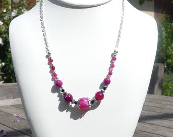 Fuchsia, purple and silver agate and jade necklace