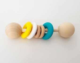 Wooden Silicone Teething Baby Rattle - Sensory Toy, Baby Shower Gift, Wooden Rattle, Montessori Baby, Wooden Baby Toy, Teething Toy