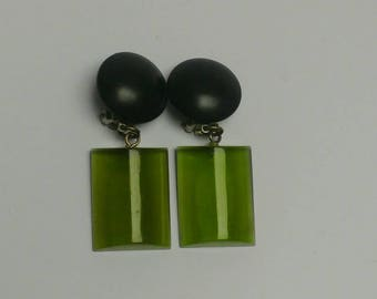 Vintage green lucite clip earrings