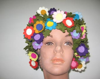 RESERVED / Layaway Payment #2 / 1960's Multi-Color Felt Flower Cap!