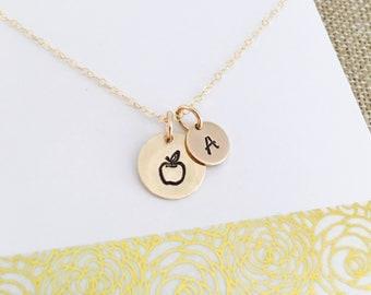 Teacher Necklace, Teacher gift, Teacher Jewelry, Apple Necklace, Simple Teacher Necklace, Gold Teacher Necklace, 14k Gold Filled