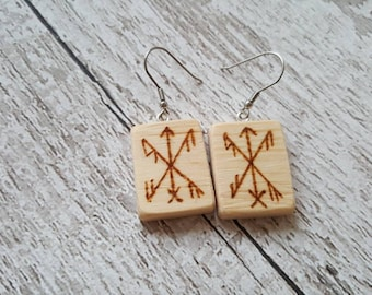 Wicca Witch Wood drop earings spell bind rune energy for success, pyrography