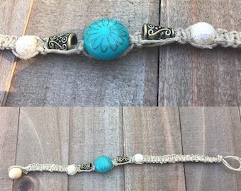 Blue & gold jewelry, flower jewelry, flower hemp bracelet, boho flower bracelet, flower bracelet