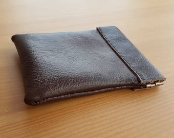 Brown leather coin purse with flex top