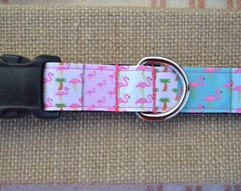"1"" wide Flamingo Patchwork Dog Collar"