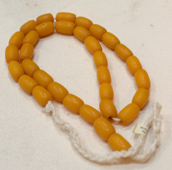 Beads Plant Amber Yellow Oval Vintage Beads 12mm