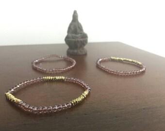 Purple Gold plated Glass bead Set of 3 iridescent Boho bead bracelets stretch bracelet Handmade elastic bracelet strand bracelet