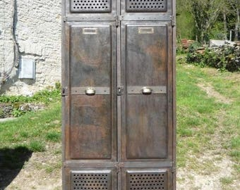 Superb 2 Door Metal French Armoire. Riveted. 1920
