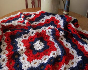 Patriotic Afghan, Red White and Blue, Crochet blanket, throw blanket, Americana crochet, Crochet throw