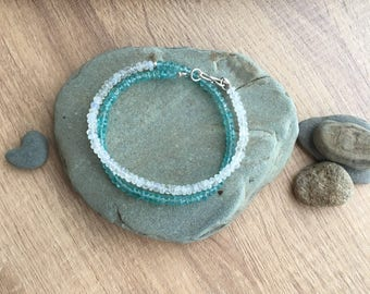 Moonstone and Apatite Wrap Bracelet, Gift for her
