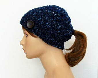 Chunky Knit Ponytail Hat Navy Blues Beanie Pony Tail Hole Women Teen Outdoor Active Hand Made in Alaska