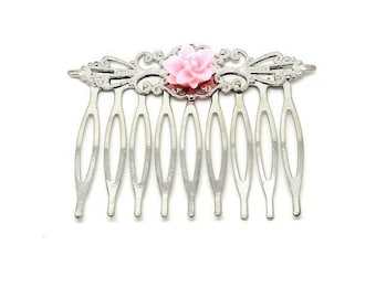Hair accessory Silver Flower rose charms and co.