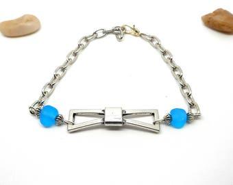 Bracelet fancy knot silver beads spun blue charms and co.