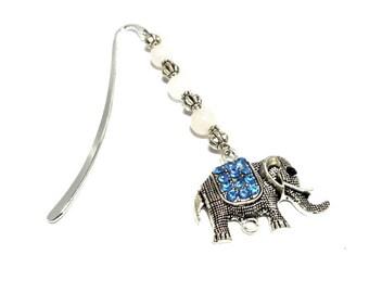 Silver jewelry, elephant blue Rhinestone Charm bookmark