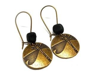 Stud Earrings, dragonflies, Pearl spun black