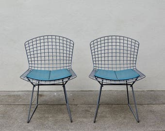 Pair of Knoll Bertoia Chairs in Grey w/ original pads