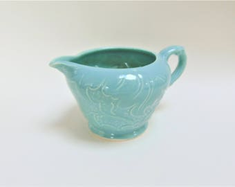 Sylvac Pottery Cream Jug Green Leaf Relief Pattern 1698 Vintage Serving Tableware