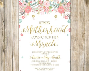 Rustic FLORAL ADOPTION Shower Invitation, MOTHERHOOD is a Miracle Baby Adoption Celebration Invite, Parenthood Dream Comes True Printable