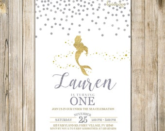 Silver Gold MERMAID BIRTHDAY Invitation, Glitters Mermaid Invite, Girl First Birthday, Magical Under the Sea Party, Summer Girls Pool Party