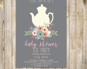 Fall BABY SHOWER TEA Party Invitation, Floral Baby Shower Tea Invite, Printable Baby Shower Invite, Rustic High Tea Shower, Baby is Brewing