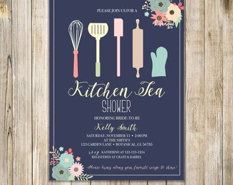 KITCHEN TEA SHOWER Invitation, Floral Kitchen Shower Invite, Stock the Kitchen Invites, Kitchen Bridal Shower, Couples Shower, House Warming