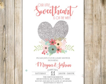 Silver Pink SWEETHEART Invitation, Little Sweetheart BABY SHOWER Invite, Valentine Baby Sprinkle, Floral Baby Shower, Heart Valentine, Vday