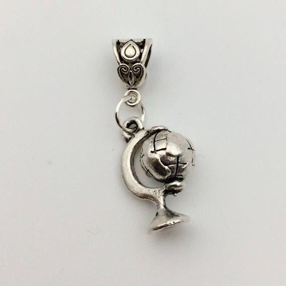 "JW Charm, Dangle ""World wide Brotherhood"" European Style or Lobster Claw, Silver-tone.  Blue monkey velvet"