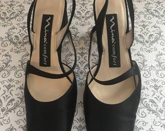 NINA Comfort Vintage Black Satin Sling Back Pumps Heels Size 5.5 M