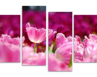 pink tulips/set of 4 new split canvas prints.