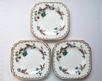 Set of 3 Art Deco Tuscan China Tea Plates or Cake Plates, Used Condition. Hand Painted Side Plates With Birds. Trio Spares For A Tea Party