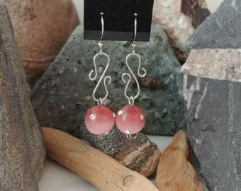 Pink Cat's Eye Glass and Rhinestone Earrings - Free Shipping!