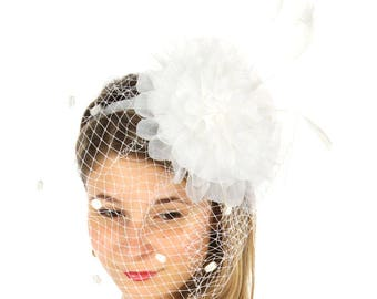White Large Ruffle Flower Fascinator with Birdcage Veil - Occasion Wedding Races