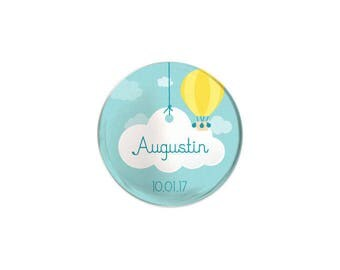 Badge invited christening or birthday balloon and cloud
