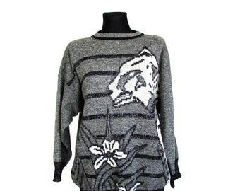Vintage 80's 90's Grey White Black Striped Lurex Leopard Flower Print Sweater Oversized