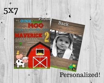 Barnyard Farm Animal Birthday Party Invitation (personalized) 5x7