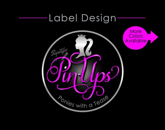 Custom product label, Logo Design with Silhouette, Silver and Hot Pink Business Branding, Box Label Design, Female Silhouette Round Logo