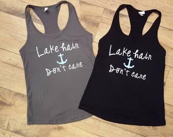 Lake Hair Don't Care Racerback Tank    Lake Hair Dont Care Tank Top    Lake Shirt    Lake Life