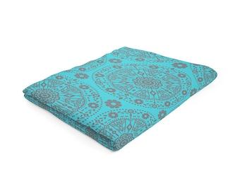 blue fleece blanket boho blanket circle floral throw brown blue blanket modern