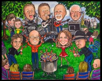 Custom caricature, retirement gift, retirement men, retirement women, retirement caricature, retirement cartoon music gift  musician cartoon
