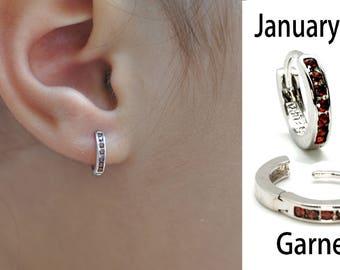 Children Huggie Hoop Earrings (Choose your Birthstone 12 Colors).925 Sterling Silver