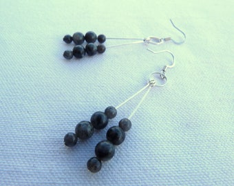 Brass earrings and natural stones